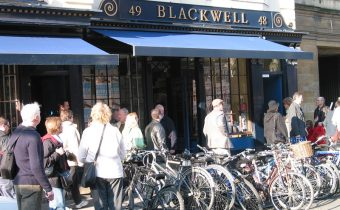 Outside Blackwell's Shop in Oxford