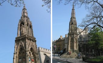 Two views of the Martyrs' Memorial in Oxford