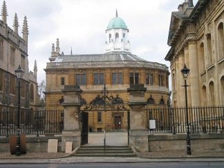 The D-shaped Sheldonian Theatre in Oxford