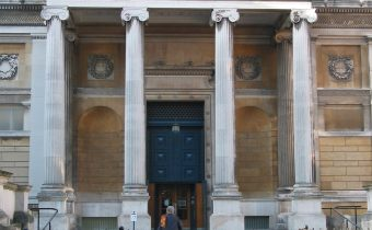 The entrance to the Ashmolean Museum on Beaumont Street in Oxford