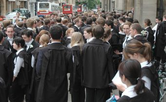 Students in academic dress outside the Examination Schools, Oxford - picture credit: Mike Knell (http://flickr.com/photos/30523851@N00)