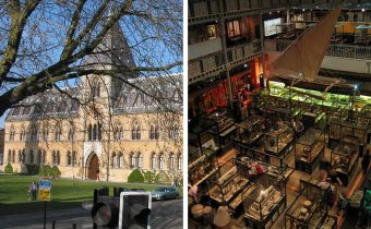 Exterior and interior shot of the Pitt Rivers Museum in Oxford - picture credit (for interior): Michael Reeve (http://en.wikipedia.org/wiki/User:MykReeve)